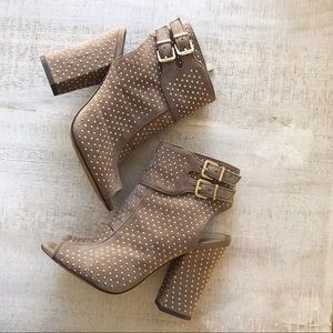 Studded Peep-Toe Ankle Booties